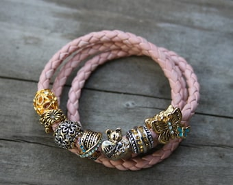 Hand braided indian pink leather bracelet, European style charm, pugster charm, bolo leather bracelet, brown leather, magnetic clasp