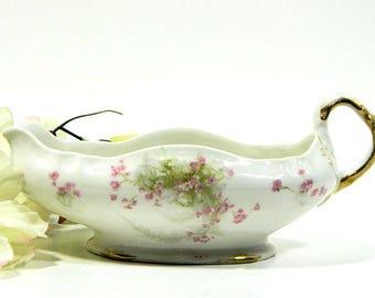 Antique Theodore Haviland France Limoges Gravy Sauce Boat Pink Floral Sprigs
