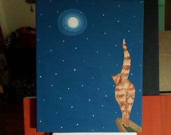 """Moon,  whimsical original acrylic painting on 8"""" x 10"""" x 3/4"""" gallery wrap canvas"""