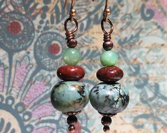 African Turquoise, Poppy Jasper and Chrysoprase Earrings, Courage, Wisdom, Grounding