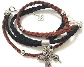 Silver Butterfly Charm Brown and Black Double Braid Suede Leather Wrap Bracelet|Butterfly|Brown|Black|Gift for Her