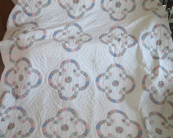 """Vintage English Patchwork Quilted Throw Bed Cover Quilt King Size W 99"""" x L 105"""""""