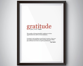 Gratitude Inspirational Quote Wall Art; Digital Download; motivational quote poster for successful life values