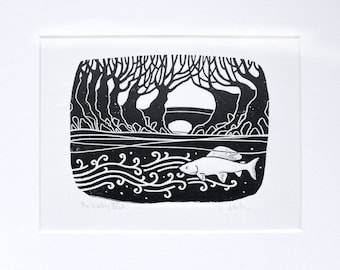 The Watery Beat:  black and white block print, inspired by fly fishing for grayling