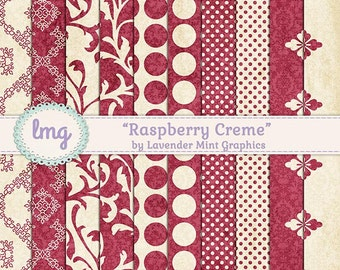 "Shabby Chic, Digital Papers, ""Raspberry Creme"", Junk Journal, Polka Dots, Damask Pattern, Floral Backgrounds, Red Paper, Instant Download"