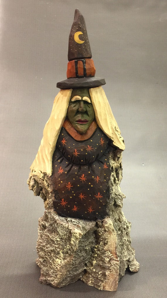 HAND CARVED original tall rustic Halloween Witch  from 100 year old Cottonwood Bark
