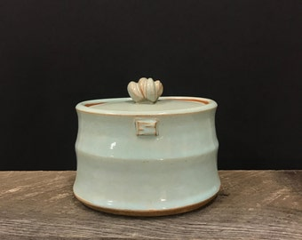 Pale blue oval jar