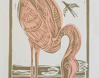 lino print, flamingo, flamingo art, flamingo print, gold, pink, crown, gift, pink flamingo, gold flamingo, lino print, affordable art, art