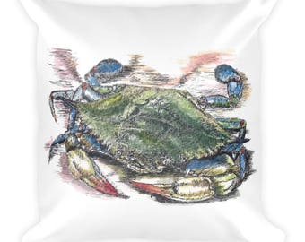 Blue Crab Square Pillow