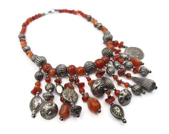 Agate Silver Boho Necklace - Ethnic Necklace, Tribal Jewelry, Statement Necklace, Vintage Necklace