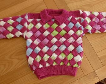 HANDKNIT ENTRELAC SWEATER, girls, bright pink, collar, unique, machine washable, handknit in Scotland, acrylic