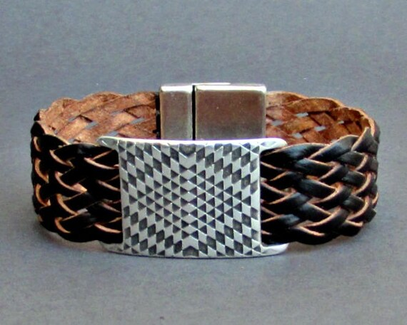 Braided Leather Bracelet Cuff Geometric Mens Silver Bracelet Cuff Customized To Your Wrist