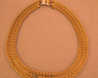 12k Gold Fill Triple Chain Necklace 1940s