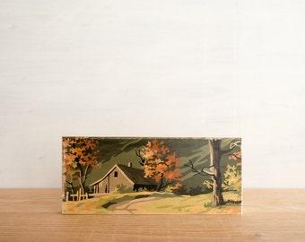 Paint by Number Art Block 'Mountain Cabin' -  fall, autumn, vintage landscape