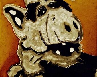 Alf Original Oil Painting Print 8x10