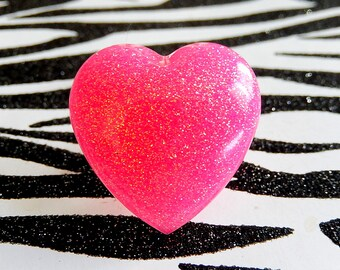 Large Pink Heart Ring, Glitter Adjustable Ring