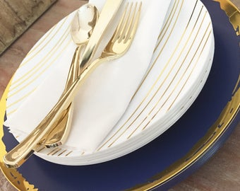 Midnight Soiree Luxe Collection. Midnight Blue u0026 Gold Party Plates. Modern Disposable Plates. & Modern paper plates | Etsy
