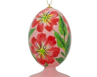 "3.5"" Red Flowers Wooden Easter Egg Christmas Ornament"