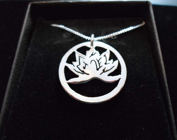 Lotus flower quarter size w/sterling silver chain
