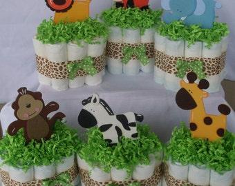 Set Of 6 Mini Jungle Diaper Cakes,Safari Diaper Cake, Safari Baby Shower  Centerpiece,Gender Neutral Diaper Cakes,Gender Neutral Baby Shower,