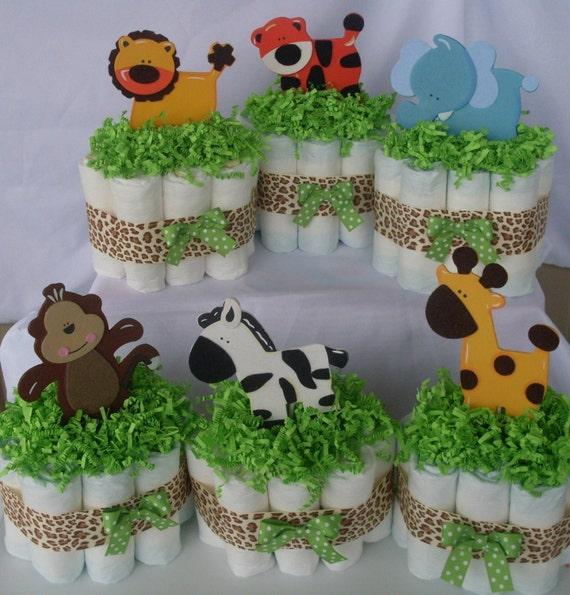 Set Of 6 Mini Jungle Diaper CakesSafari Diaper Cake Safari