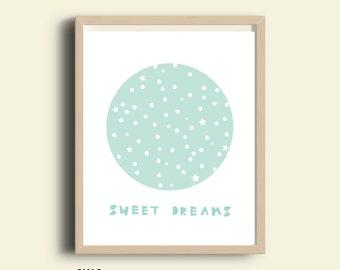Nursery decor, printable art, Sweet Dreams sign, light blue, nursery printable, instant, blue art, kids wall art, baby nursery wall print