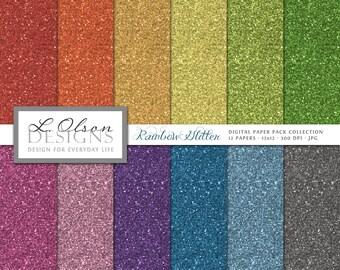 Rainbow Glitter - 12 digital paper patterns