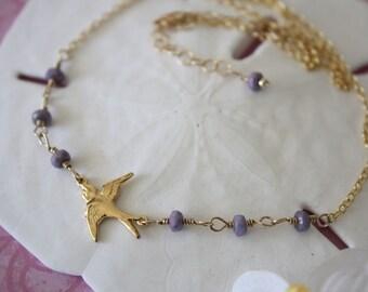SALE Sparrow Necklace, Violet Necklace, Gold Filled Necklace