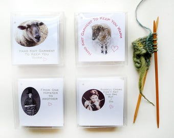 Knit Care Tags Gift For Knitters Funny Original Hipster Knitter