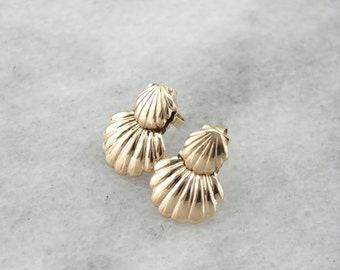 She Sells Sea Shells, Double Scallop Shell Earrings  5DEW6R=R