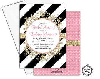 Bridal shower invitations printed black gold, black and white stripe invitation, polkadots, pink bridal shower invites printable - WLP00691