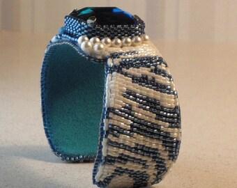 MONTANA WILD, Bead Embroidery Cuff Bracelet  EBEG Bead Fest: Half Past Midnight
