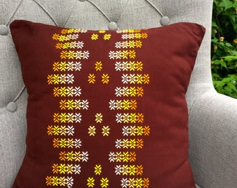 Brown Cushion with yellow and white floral motifs, brown floral cushion