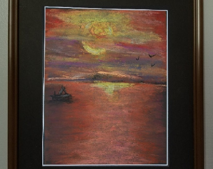 "8x10 Original Pastel Painting, Sunset Landscape Artwork, ""The Drama of Sunset"""