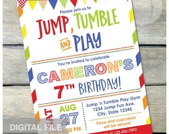 "Gymnastics Birthday Invitation Jump Tumble Play Boys Girls Red Party - DIGITAL Printable Invite - 5"" x 7"""