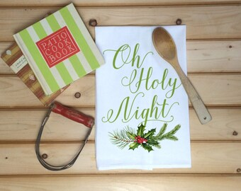Christmas Tea Towel, Oh Holy Night Flour Sack Towel, Holiday Tea Towel, Christmas Song Dish Towel, Christmas Dish Towel, Kitchen Decor,