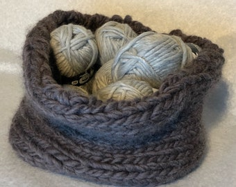 Handknitted 100% woolen knitting basket