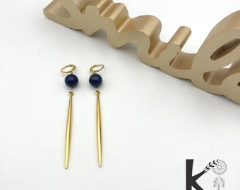 Earrings dangle of lapis lazuli and gold