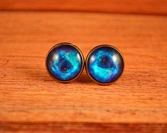 Blue Galaxy Studs, Space Earrings, Space Studs, Galaxy Posts, Galaxy Jewelry, Galaxy Earrings, Black Galaxy Studs, Blue Space Studs