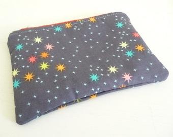Little Stars Print Zippered Pouch, Small makeup or Gadget Bag
