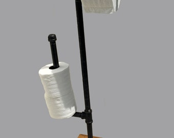 Toilet paper holder Stand - toilet paper stand rustic toilet paper holder iron pipe  industrial modern