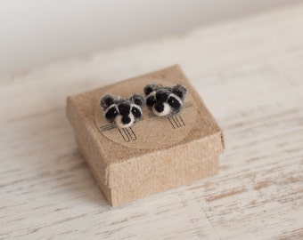 Raccoon Stud Earrings Mothers day Gift for her Tiny animal stud earrings small kids studs For girlfriend Sterling silver Love Mom birthday