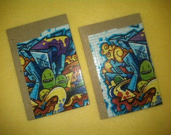Graffiti Duct Tape Journal - recycled paper upcycled unlined sketchbook diary