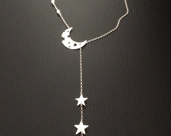 Long lariat necklace of  sterling silver moon and stars. Handmade. Opal glass. Inspirational gift