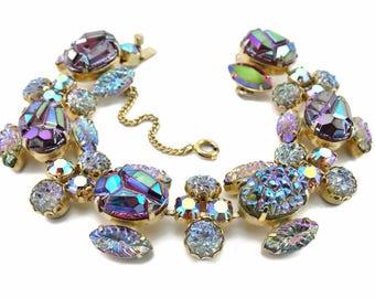 "Vintage SCHIAPARELLI Rhinestone ""Lava Rock"" Art Glass Bracelet & Earrings Demi-Parure"
