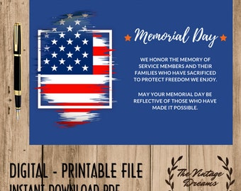 MEMORIAL DAY CARD Honor Veteran Service Best Wishes to their Family Salute to Veteran Memorial day gift backyard bbq favors guest Digital