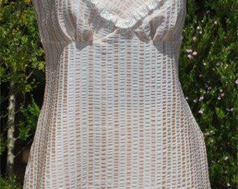 Cream Stripe Camisole and French Knicker Set - Size AU14/US10/UK12