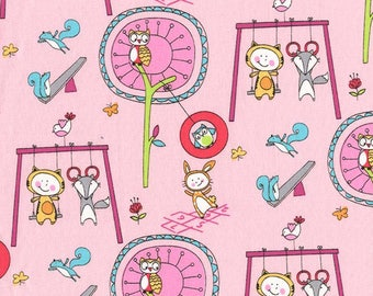 Michael Miller Let's Play Pink Playground Pals Fabric - 1 yard - NEW