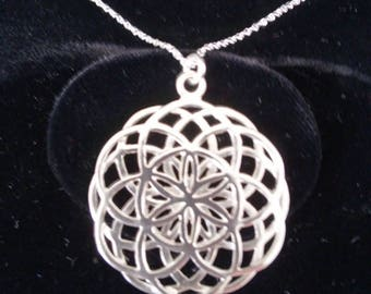 double seed of life pendant in silver - sacred geometry - sterling silver necklace