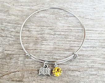 Simple Belle Beauty And The Beast Disney Inspired Bangle Charm Bracelet With Swarovski Crystal